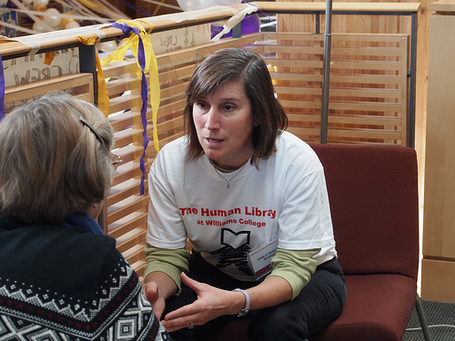 "A ""book"" converses with the student at the 2012 Human Library."