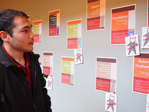 A student looks over options at the 2012 human Library Event