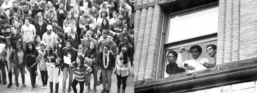 Williams students respond to racial prejudice in 2011 (left) and 1969 (right).